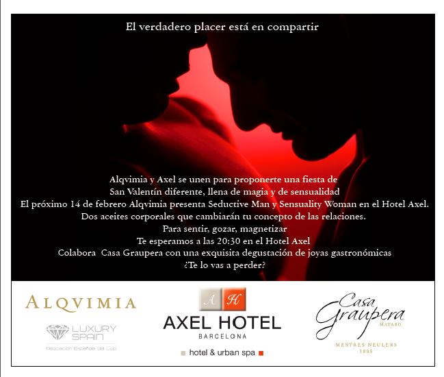Alqvimia celebra un San Valentin de Lujo en el Hotel Axel de Barcelona de la mano de Casa Graupera